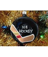 Ice Hockey Puck Hand Painted Glass Ornament [Kitchen] - $24.74