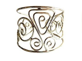 Silver Plated Oval and Triangle Wide Cuff Bracelet [Jewelry]