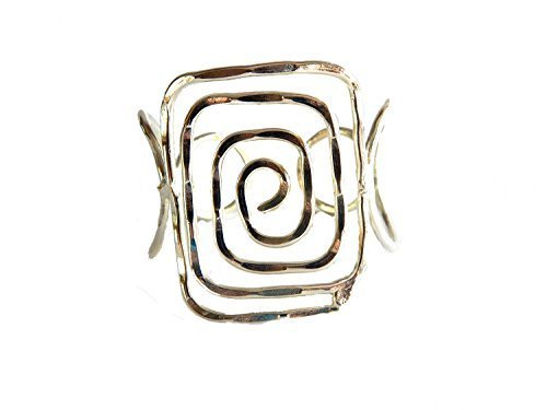 Silver Plated Hammered Metal Rectangle Spiral Wide Cuff Bracelet [Jewelry]