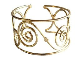 Silver Plated Oval and Circles Wide Cuff Bracelet [Jewelry]