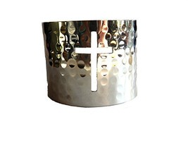 Silver Plated Hammered Cross Wide Cuff Bracelet [Jewelry]