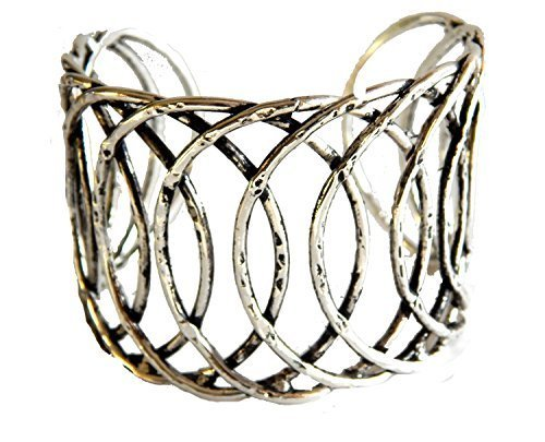 Silver Plated Concentric Circles Wide Cuff Bracelet [Jewelry]