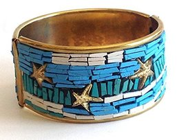 An item in the Sports Mem, Cards & Fan Shop category: Ocean Starfish Mosaic in Blue Cuff Bracelet [Jewelry]
