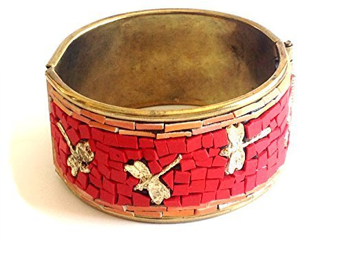 Garden Dragonfly Mosaic in Red Orange Cuff Bracelet [Jewelry]