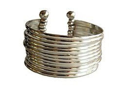 Silver Plated Stacking Easy Elegance Wide Cuff Bracelet [Jewelry]