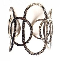 Silver Plated Oval Circles Wide Cuff Bracelet [Jewelry]