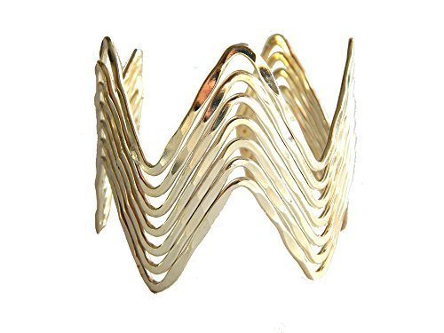 Silver Plated Zig Zag Geo Hammered Wide Cuff Bracelet [Jewelry]