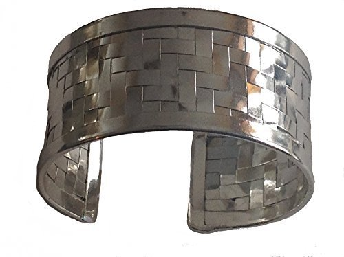 Silver Plated Hammered Woven Cuff Bracelet [Jewelry]