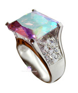 925 Sterling Silver Womens His Presence of God Aurora Borealis Ab Chunky... - $95.00