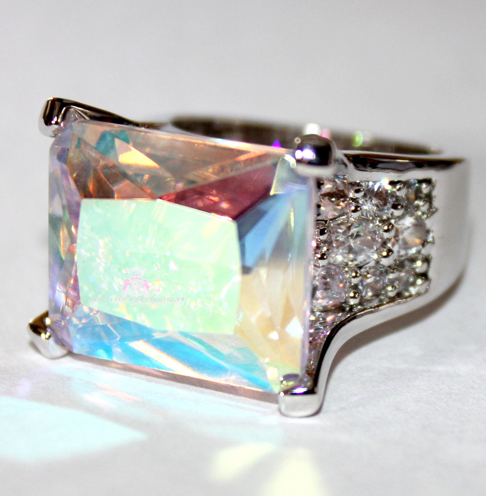 925 Sterling Silver Double Blessing Crown Princess Aurora Borealis Cz Ring