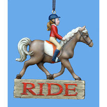 "Girl Riding Horse ""Ride"" Christmas Ornament - $13.95"