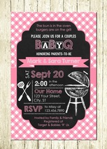 BabyQ Barbecue BBQ Cookout Pink Girl Personalized Digital Baby Shower In... - $10.00