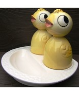 Vintage YELLOW CHICKS Ceramic EGG CUPS with SALT and PEPPER SHAKERS JAPA... - $249.99