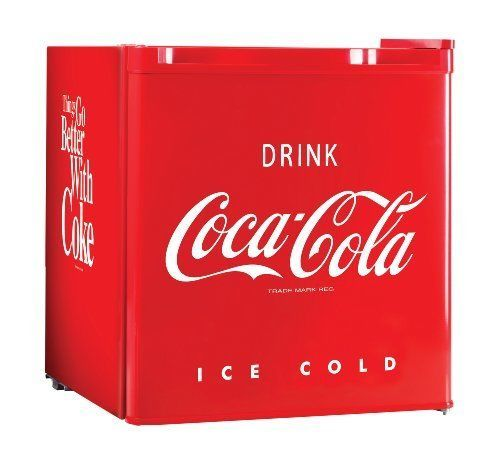 Retro Coca Cola Mini Fridge 1.7 Cu. Ft. Vintage Refrigerator Compact Portable