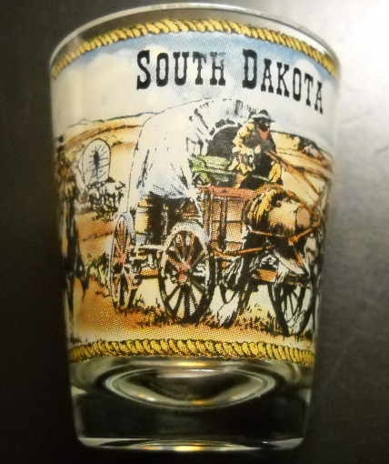 Primary image for South Dakota Shot Glass Clear Glass with Full Color Wagon Train Themed Wrap