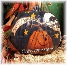 "PRiMiTiVe HANDPAINTED GrUnGy ""HAPPY HALLOWEEN"" PUMPKIN - $24.95"