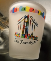 San Francisco Shot Glass Frosted Glass Colorful Icons Cable Car Victorian SNCO - $6.99