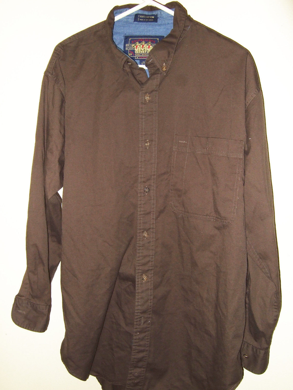 Ralph lauren chaps mens button front dress shirt size 16 for Black brown mens shirts