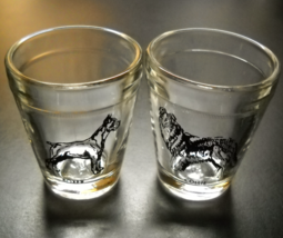Hazel Atlas Shot Glass Set of Two Dogs Collie and Boxer Clear Glass Black Print - $16.99