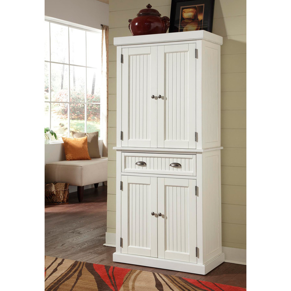 Kitchen cabinet white distressed finish pantry home for Finished kitchen cabinets