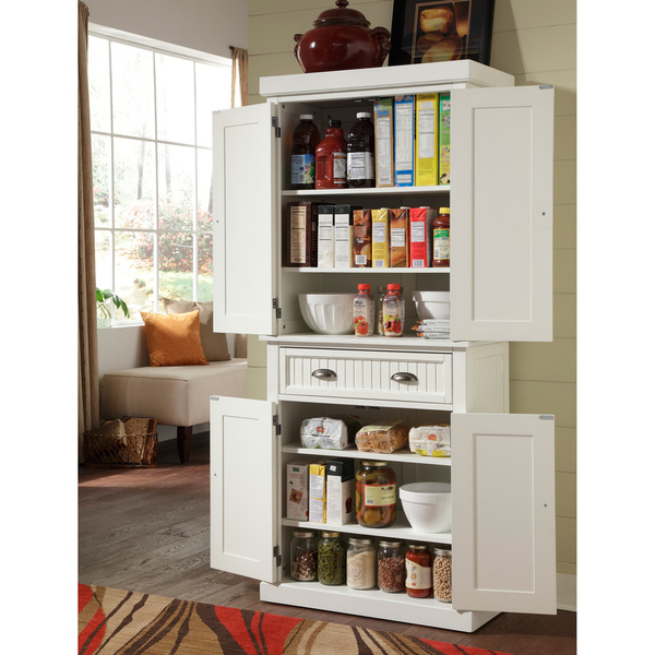 Kitchen Cabinet White Distressed Finish Pantry Home Kitchen Pantry