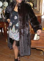 Elegant Black brown F Length Mink Fur Coat Jacket S-M - $1,199.99