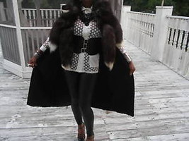 Designer custom Black full length Swakara & Silver fox Fur vest Coat M 2-10 - $899.99
