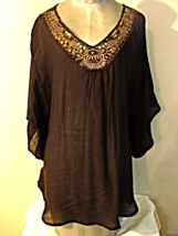AGB Boho Brown Gauz Bead Sequin Blouse--XL - $23.50