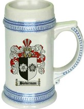 Biederman Coat of Arms Stein / Family Crest Tankard Mug - $21.99