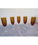 "5 Amber Champagne Flutes Flute Diamond Cut 8"" - $98.03"