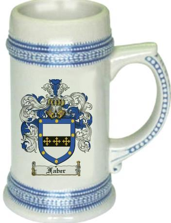 Faber Coat of Arms Stein / Family Crest Tankard Mug