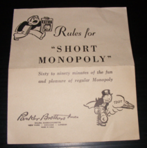 1947 Rules for Short Monopoly + BONUS - $12.00
