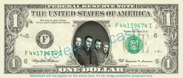 BREAKING BENJAMIN Music Band on REAL Dollar Bill Cash Money Bank Note Currency