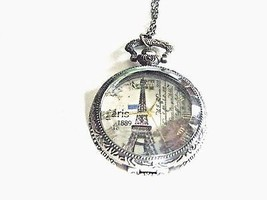 Pocket Watch Necklace Eiffel Tower Ornate Quartz Battery Included New - $19.75