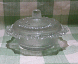 Vintage Clear Pressed Glass Round Candy Dish // Nut Dish //Trinket Dish with Lid - $10.00