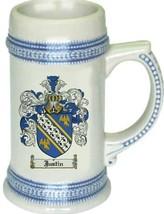 Justin Coat of Arms Stein / Family Crest Tankard Mug - $21.99