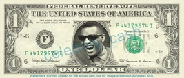 RAY CHARLES on REAL Dollar Bill Cash Money Bank Note Currency Dinero Cel... - $4.44