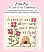 Sweet Rose FREE CHART + 2 NEW FLOSS colors (rose petal, strawberry parfa... - $4.30