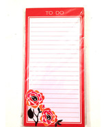 To Do/Red Floral Border Magnetic Note Pad Lined List 80 sheets - $3.59