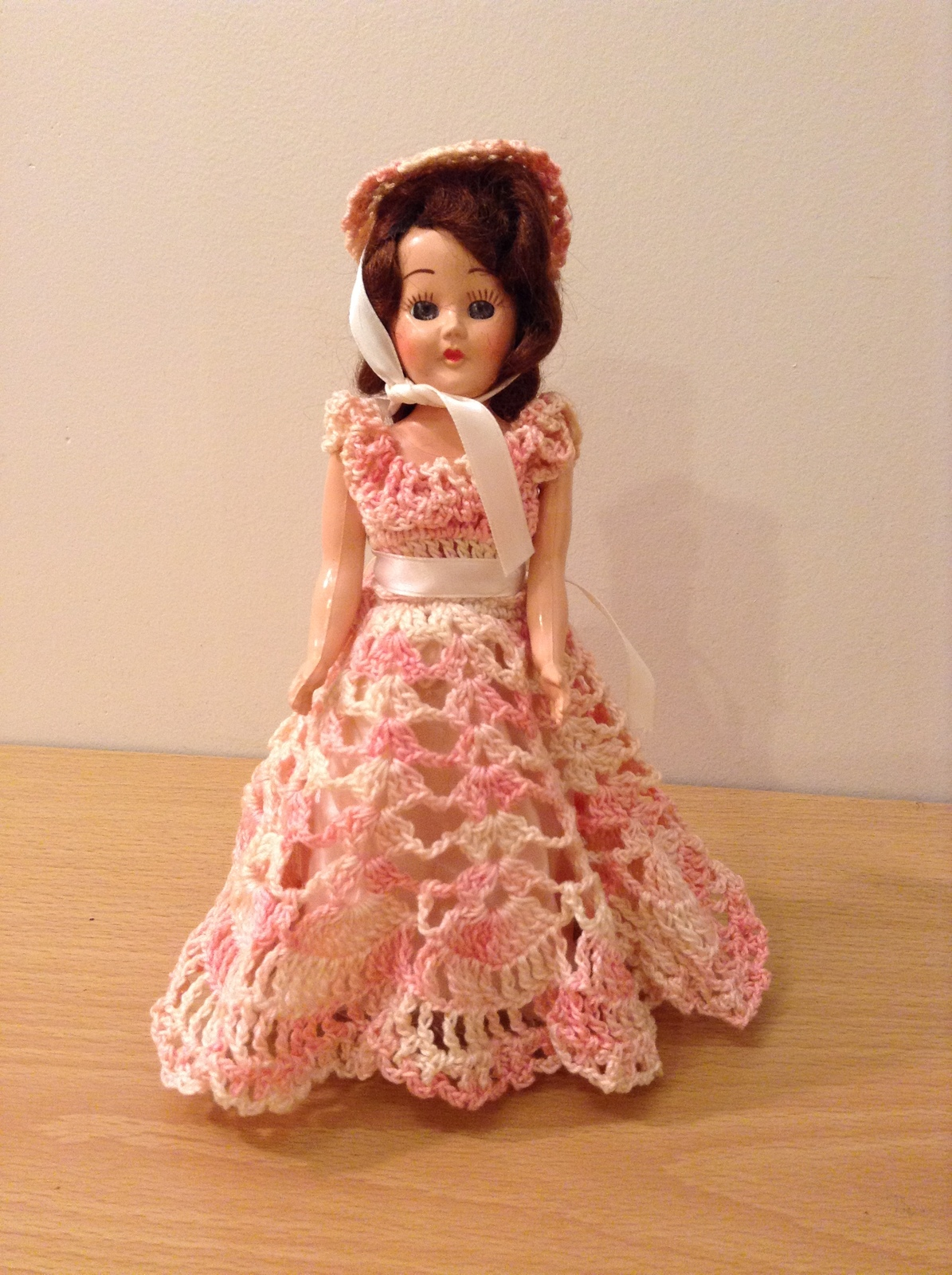 Vintage Collectible Doll with Automatic Closing Eyes Handmade Crochet Clothing