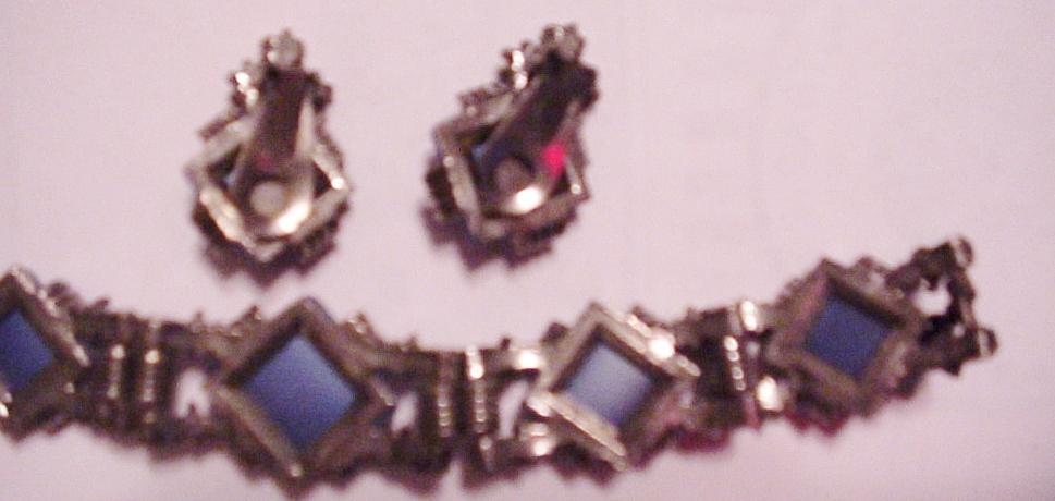 "Rhinestone Cabochon Bracelet Earrings Set 7"" Vintage"