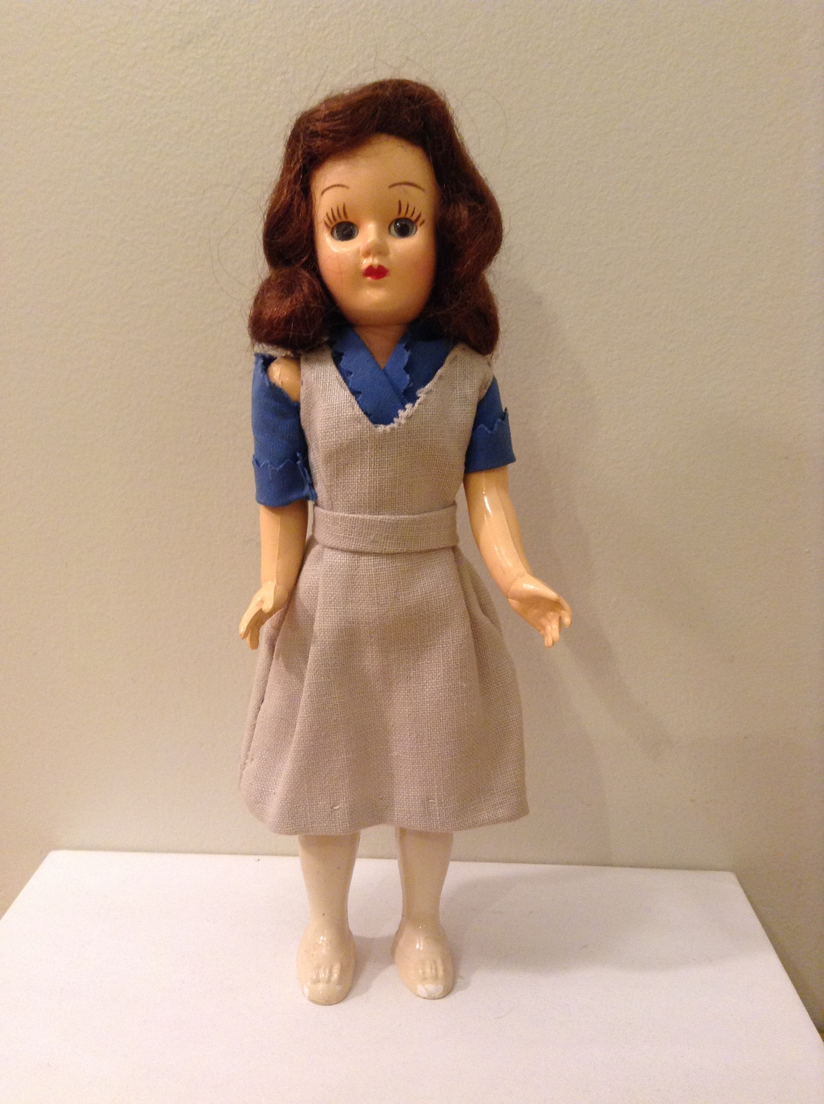 Vintage Collectible Doll with Automatic Closing Eyes Handmade Clothing