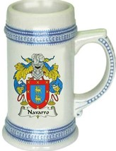 Navarro Coat of Arms Stein / Family Crest Tankard Mug - $21.99