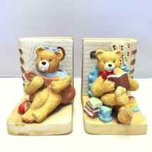 Cute Ceramic Teddy Bear Library Bookends For Children Hand Painted - £9.58 GBP