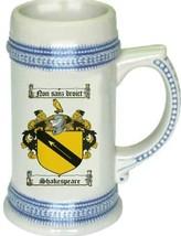 Shakespeare Coat of Arms Stein / Family Crest Tankard Mug - $21.99