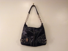 Franco Sarto Black Glazed Leather Shoulder Bag Purse Top Zipper