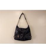 Franco Sarto Black Glazed Leather Shoulder Bag Purse Top Zipper - $29.99