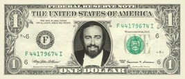 LUCIANO PAVAROTTI on REAL Dollar Bill Cash Money Bank Note Currency Dinero - $4.44