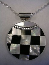 "BLACK ONYX AND MOTHER OF PEARL PENDANT WITH A 30"" CHAIN IN STERLING SILVER  - $79.15"