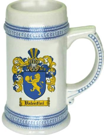 Valentini Coat of Arms Stein / Family Crest Tankard Mug